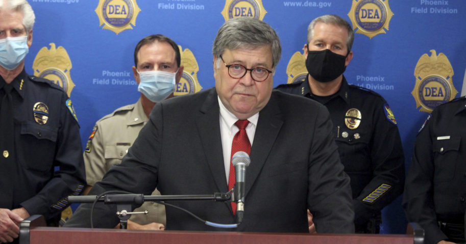 Attorney General William Barr speaks at a news conference on Sept. 10, 2020, in Phoenix.
