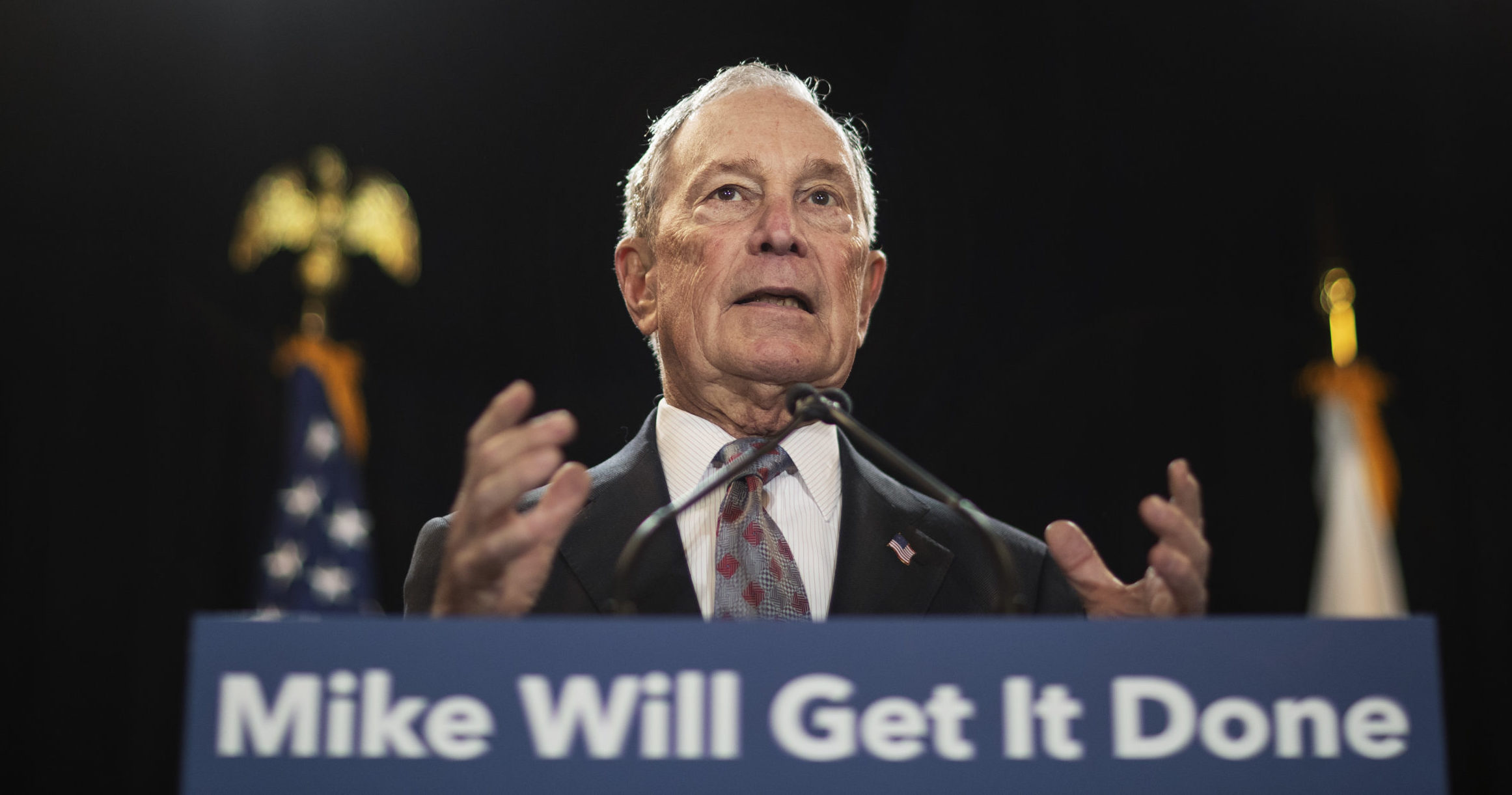 Then-Democratic presidential candidate and former New York City Mayor Michael Bloomberg speaks at a campaign event in Providence, Rhode Island, on Feb. 5, 2020.