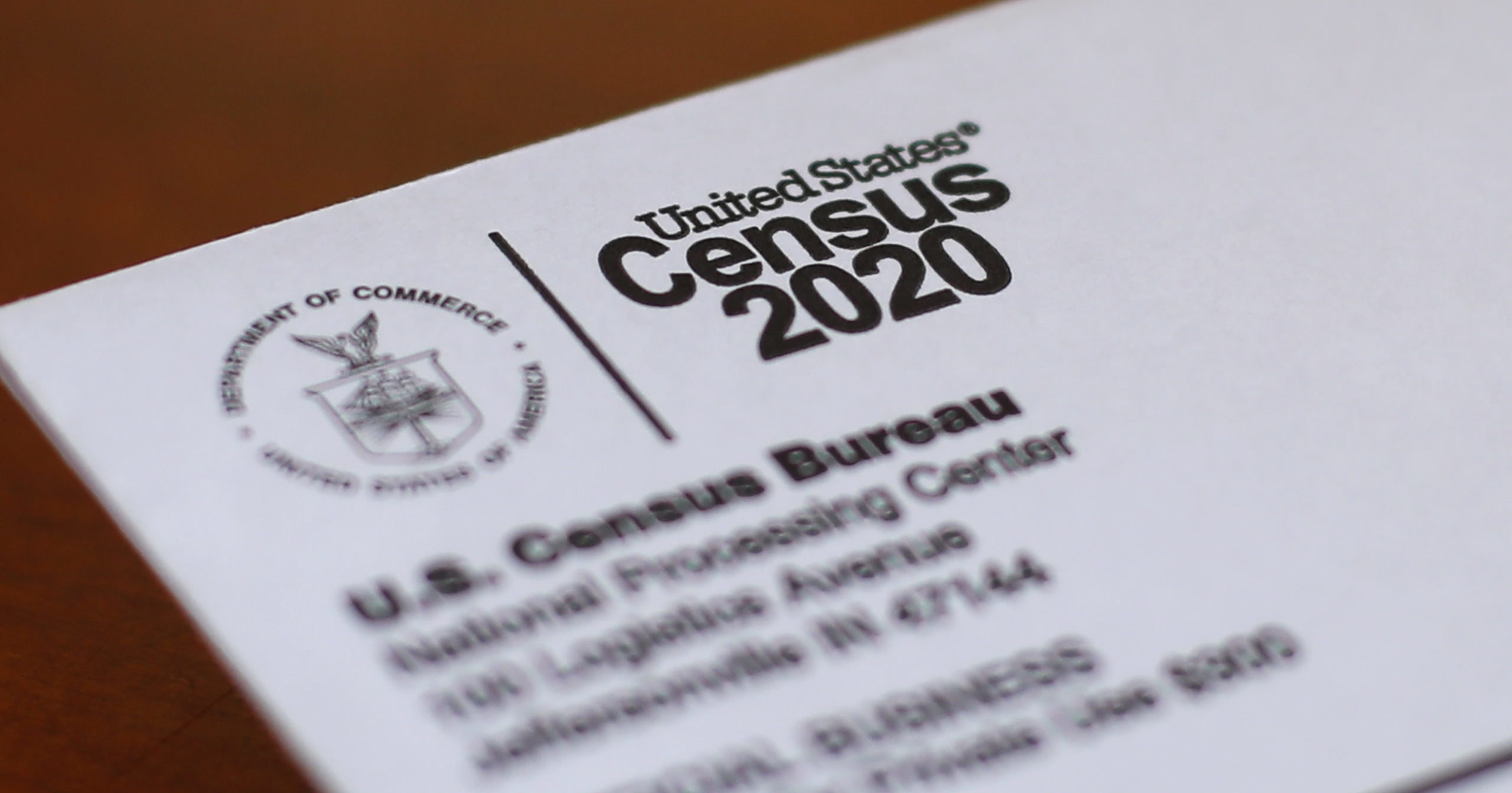 In this April 5, 2020, file photo, an envelope containing a 2020 census letter is shown in Detroit.