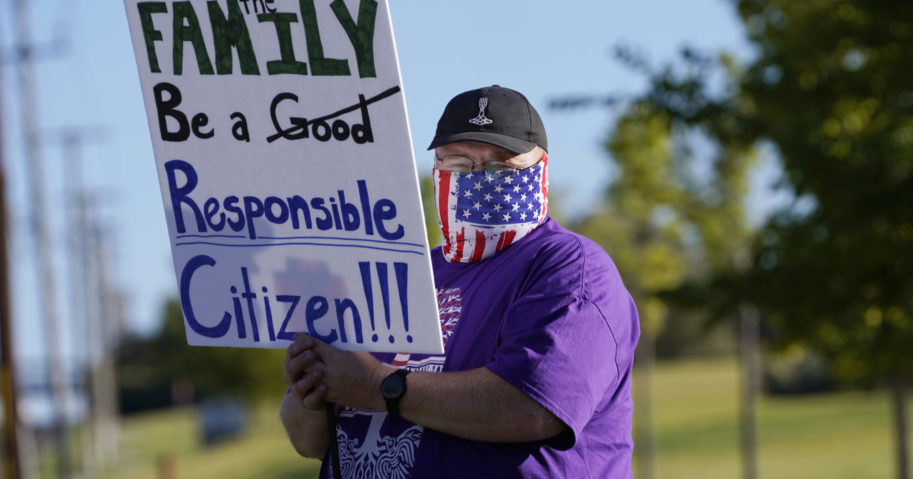 Law enforcement supporters protest during a rally on Sep. 3, 2020, in West Valley City, Utah.