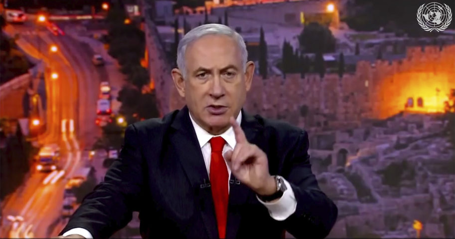 In this image from video, Prime Minister Benjamin Netanyahu of Israel speaks in a pre-recorded message which was played during the 75th session of the United Nations General Assembly on Sept. 29, 2020, at U.N. headquarters.