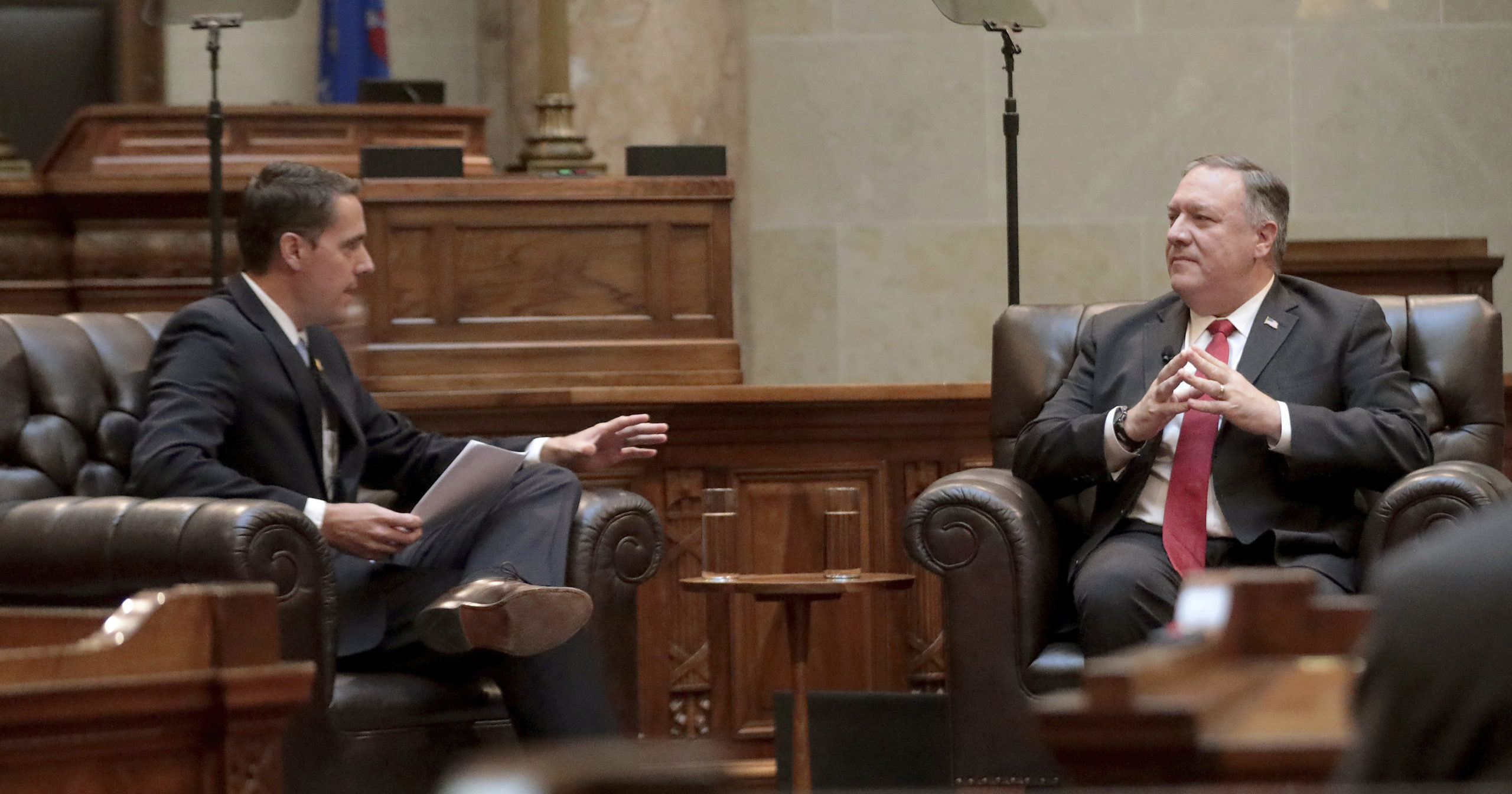 Secretary of State Mike Pompeo listens to a question from Wisconsin Senate President Roger Roth in the Senate chamber of the Wisconsin State Capitol in Madison, Wisconsin, on Sept. 23, 2020.