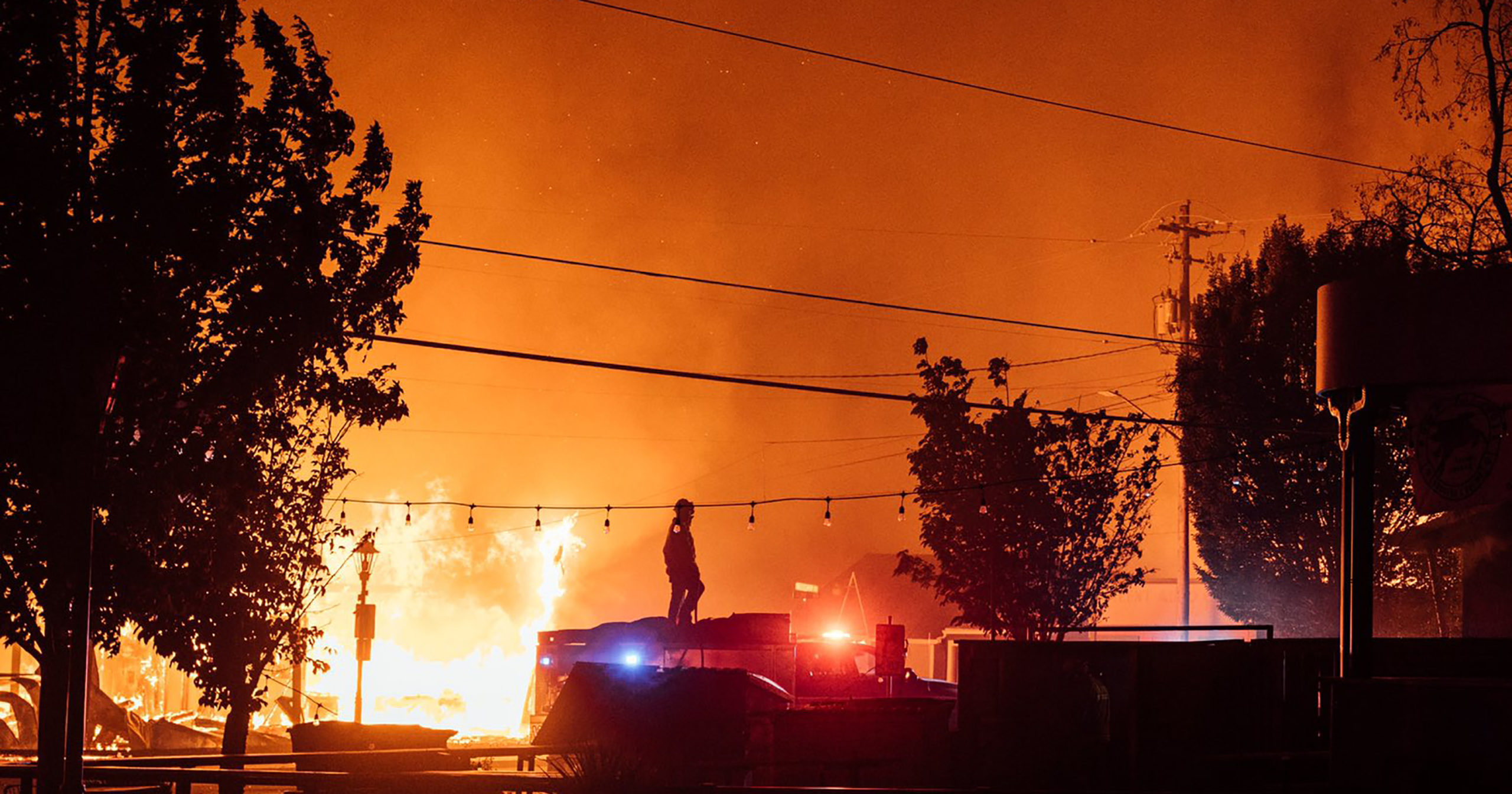 This photo taken by Talent, Oregon, resident Kevin Jantzer shows the destruction of his hometown by a wildfire on Sept. 8, 2020.