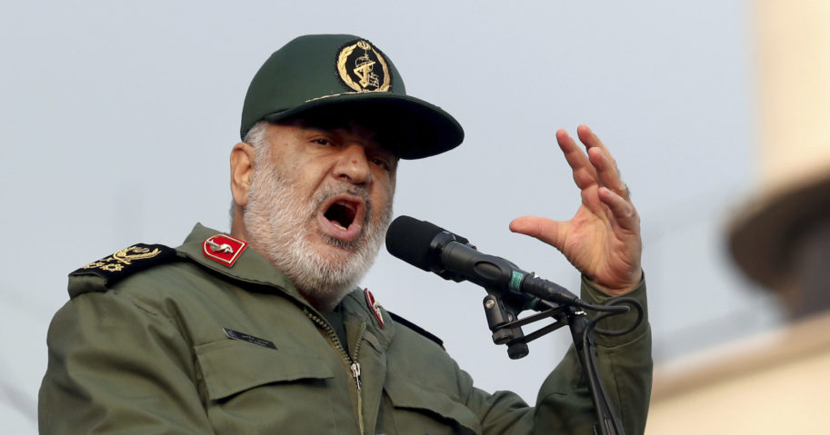 In this Nov. 25, 2019, file photo, Iranian Gen. Hossein Salami speaks at a pro-government rally in Tehran, Iran. The chief of Iran's paramilitary Revolutionary Guard has threatened to go after everyone who had a role in a top general's January killing during a US drone strike in Iraq. US President Donald Trump warned this week that Washington would respond harshly to any Iranian attempts to take revenge for the death of Gen. Qassem Soleimani.