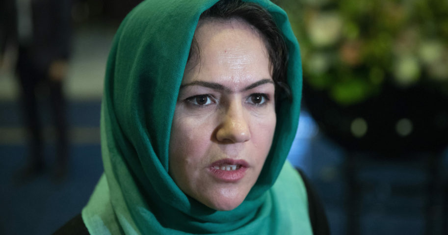 In this Feb. 5, 2019, file photo, Afghan politician Fawzia Koofi speaks to media before intra-Afghan talks in Moscow, Russia.