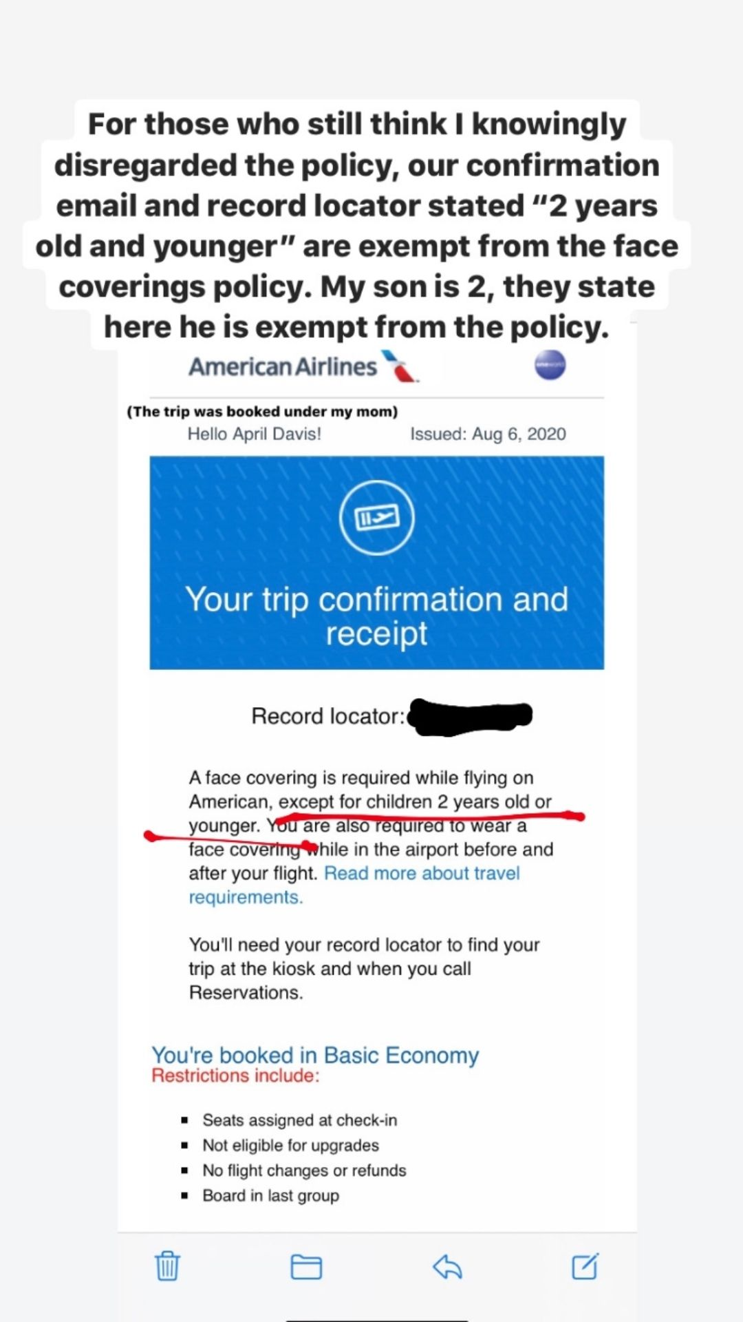 AA Trip Confirmation