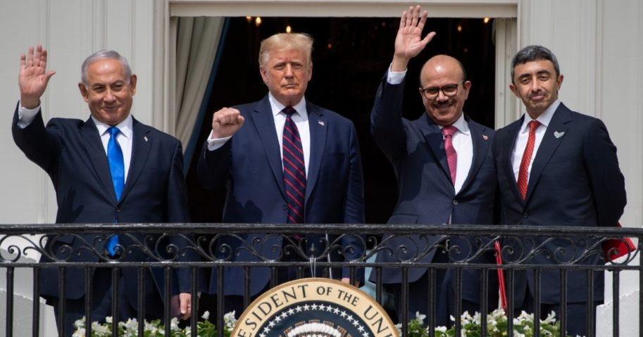 From left to right, Israeli Prime Minister Benjamin Netanyahu, U.S. President Donald Trump, Bahrain Foreign Minister Abdullatif al-Zayani and UAE Foreign Minister Abdullah bin Zayed Al-Nahyan wave from the Truman Balcony at the White House after they participated in the signing of the Abraham Accords in Washington, D.C., on Sept. 15, 2020.