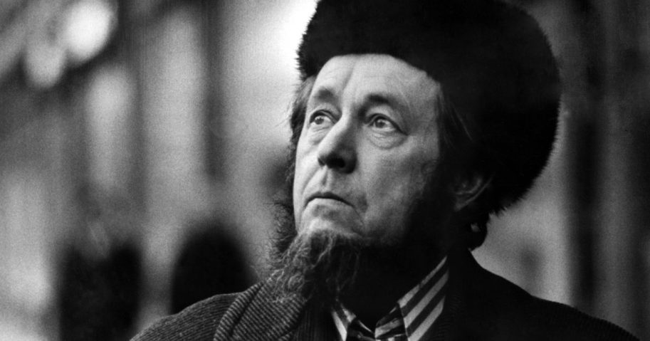 Russian writer Alexander Solzhenitsyn is pictured in Cologne, Germany, on Feb. 15, 1974.