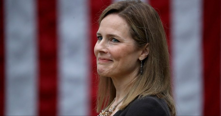 Judge Amy Coney Barrett is introduced by President Donald Trump as his nominee to the Supreme Court on Saturday.