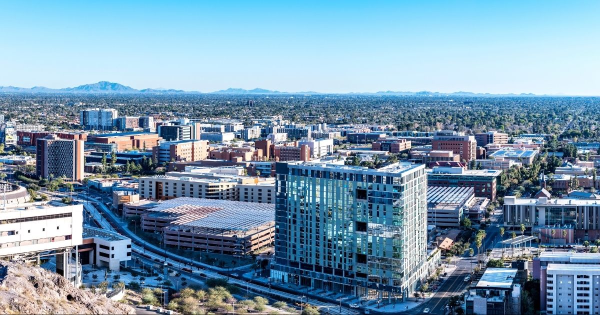 A panoramic view overlooking the Arizona State University campus is pictured in the above stock photo.