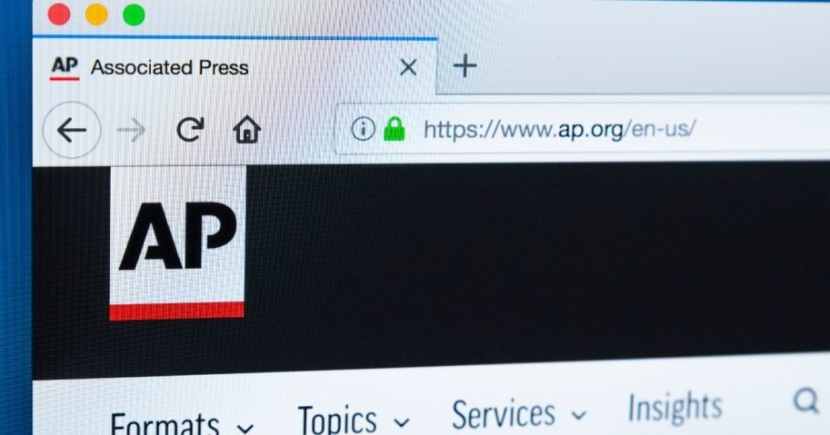 The homepage of the official website for The Associated Press is pictured above.