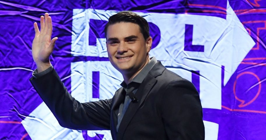 Conservative political commentator Ben Shapiro waves to the crowd as he arrives to speak at the 2018 Politicon in Los Angeles on Oct. 21, 2018.