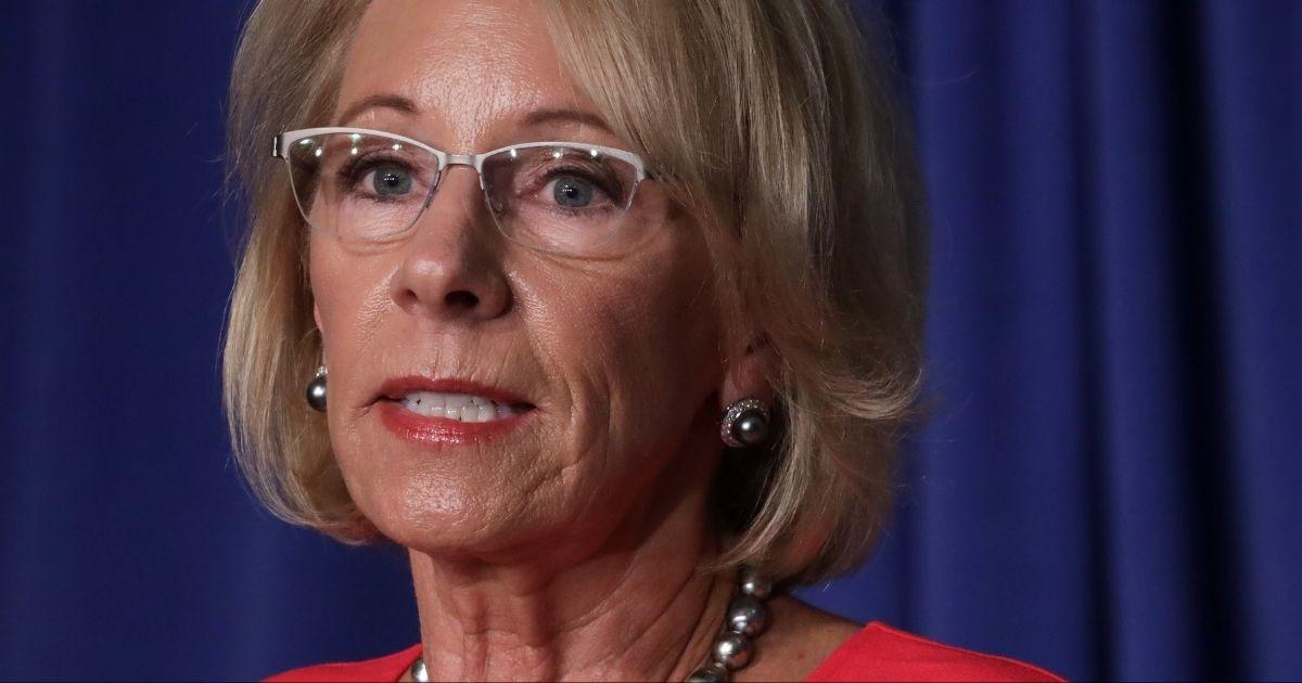 U.S. Secretary of Education Betsy DeVos speaks during a press briefing July 8, 2020, in Washington, D.C.