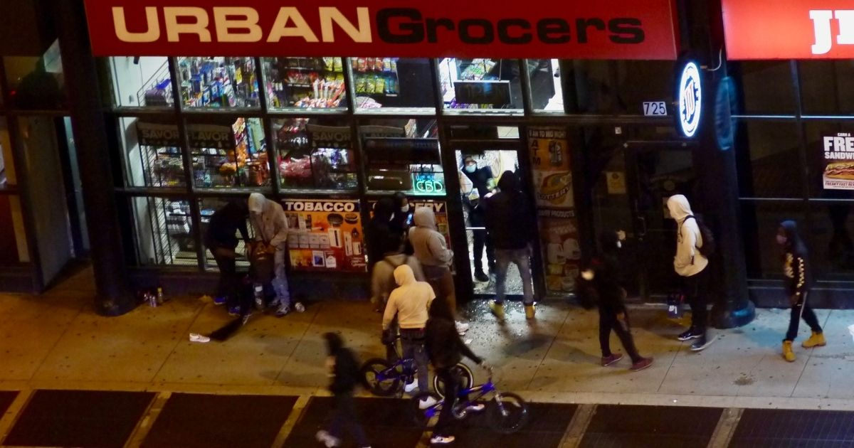 Looters hit a store in the South Loop of Chicago on May 31, 2020.