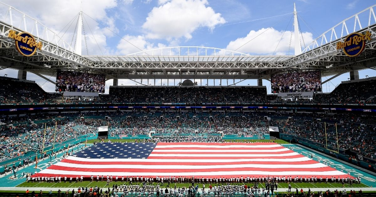A general view of the American flag is seen during the national anthem prior to the game between the Miami Dolphins and the Baltimore Ravens at Hard Rock Stadium on Sept. 8, 2019, in Miami, Florida.