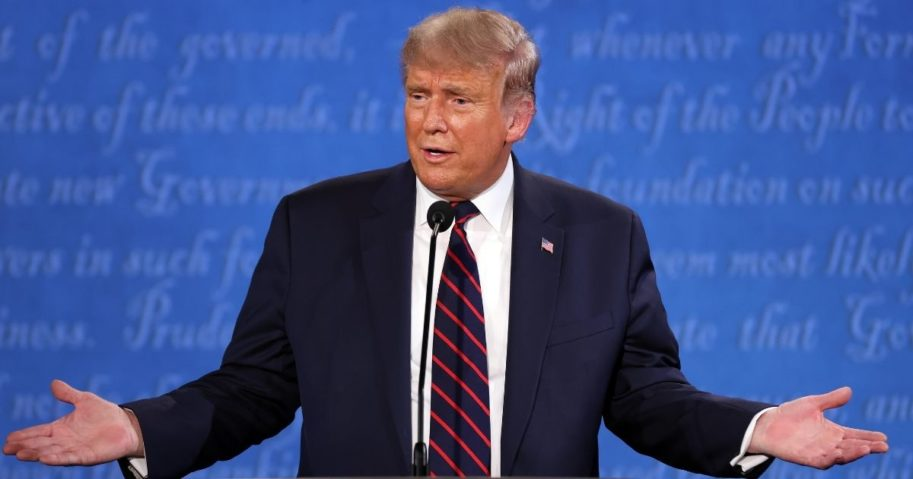 President Donald Trump speaks at the first presidential debate against Democratic presidential nominee Joe Biden at the Health Education Campus of Case Western Reserve University in Cleveland on Tuesday.