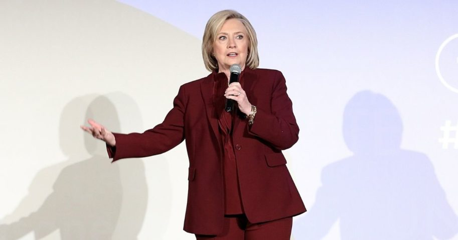 "Hillary Clinton speaks onstage during Hulu's ""Hillary"" NYC premiere on March 4, 2020, in New York City."