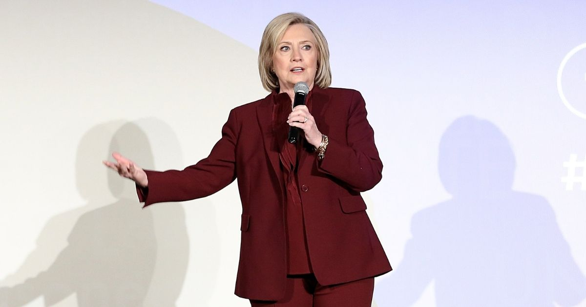 """Hillary Clinton speaks onstage during Hulu's """"Hillary"""" NYC premiere on March 4, 2020, in New York City."""