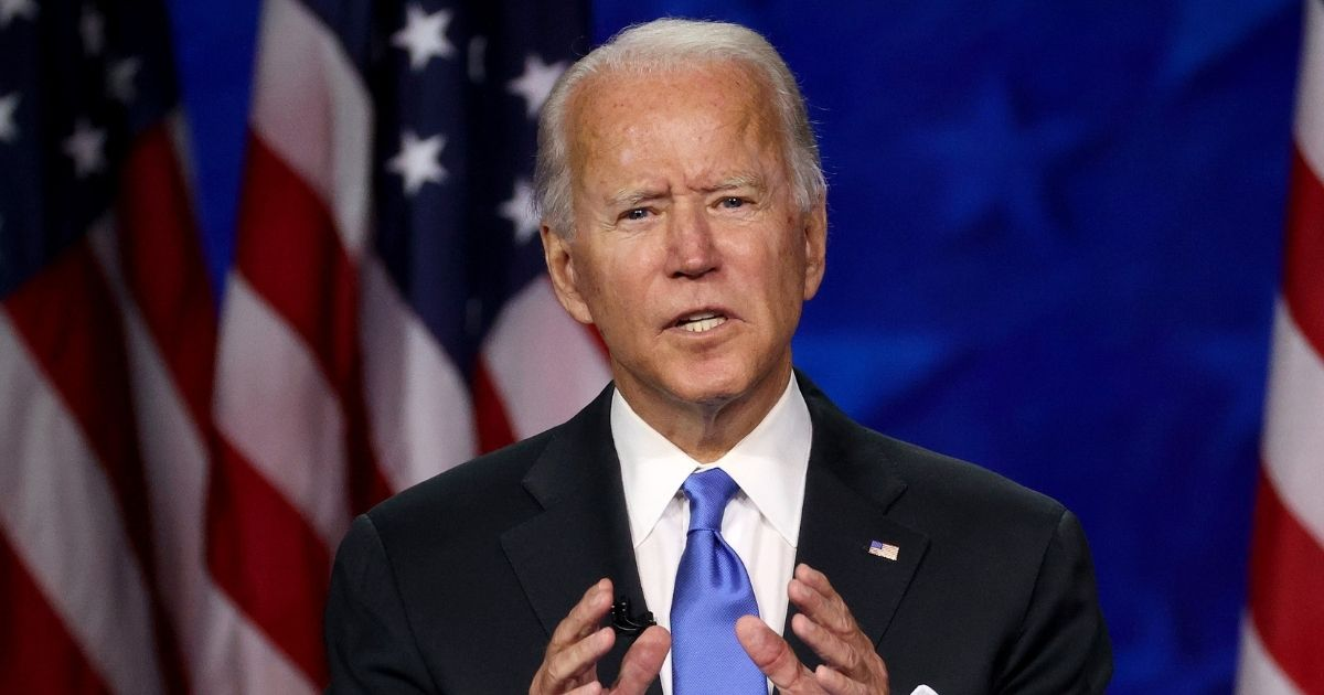 Democratic presidential nominee Joe Biden delivers his acceptance speech at the Democratic National Convention on Aug. 20, 2020.