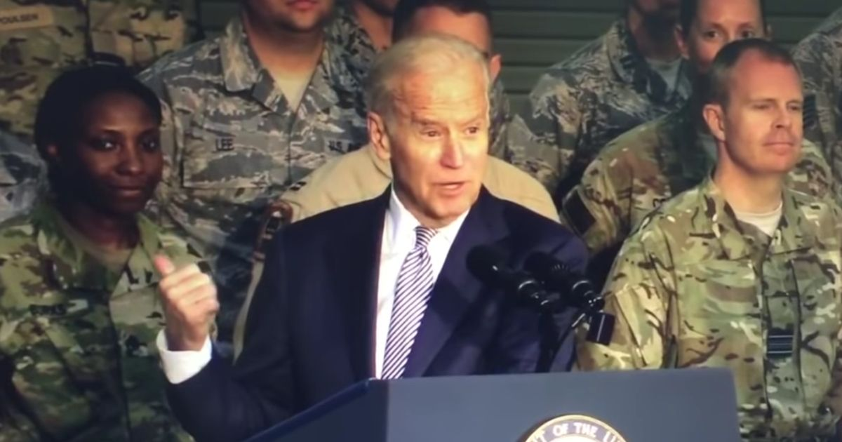 Then-Vice President Joe Biden speaks to the 380th Air Expeditionary Wing at an undisclosed location in Southwest Asia on March 7, 2016.