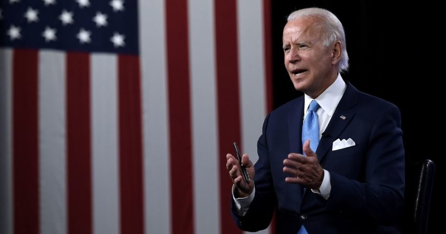 Democratic presidential nominee Joe Biden participates in a virtual grassroots fundraiser along with his vice presidential running mate, California Sen. Kamala Harris, at the Hotel du Pont in Wilmington, Delaware, on August 12, 2020.
