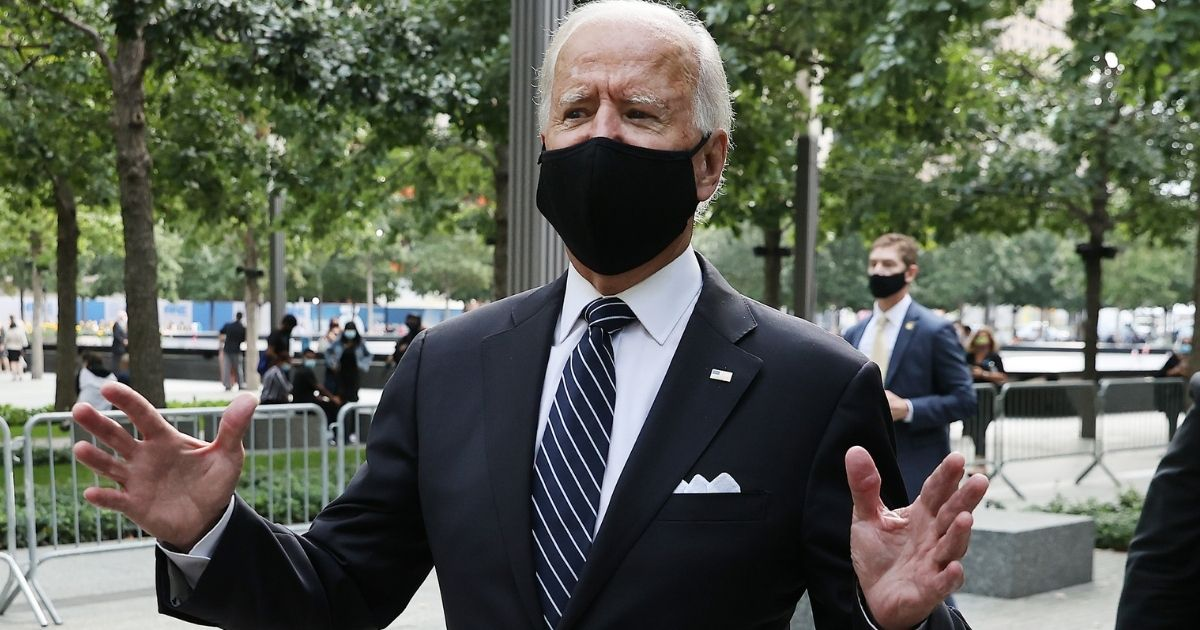 Democratic presidential nominee and former Vice President Joe Biden leaves the Sept. 11 National Memorial following a remembrance ceremony on the 19th anniversary of the Sept. 11 terror attacks Sept. 11, 2020, in New York City.