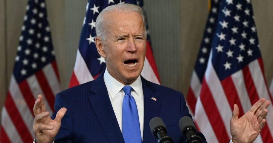 Democratic presidential nominee Joe Biden speaks at the National Constitution Center in Philadelphia on Sept. 20, 2020.