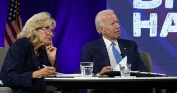 Democratic presidential nominee Joe Biden, right, and his wife Dr. Jill Biden receive a virtual briefing from experts on school reopening on Sept. 2, 2020, in Wilmington, Delaware.