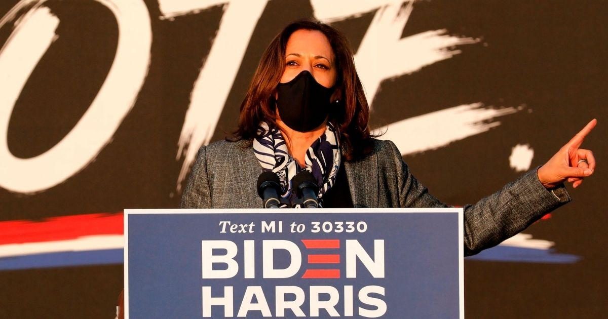 Democratic vice presidential candidate Sen. Kamala Harris of California speaks at the Detroit Pistons Practice Facility in Detroit on Sept. 22, 2020.