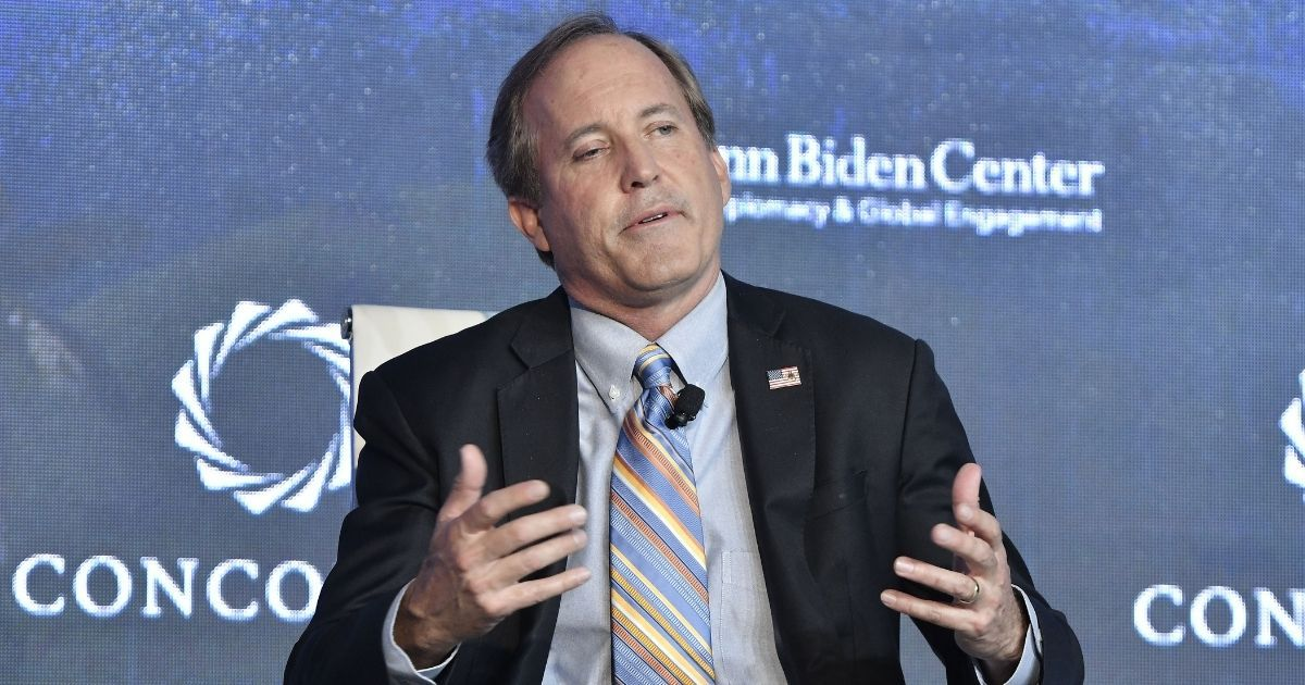 """Texas Attorney General Ken Paxton attends the forum """"Partnerships to Eradicate Human Trafficking in the Americas"""" on May 14, 2019, in Bogota, Colombia."""