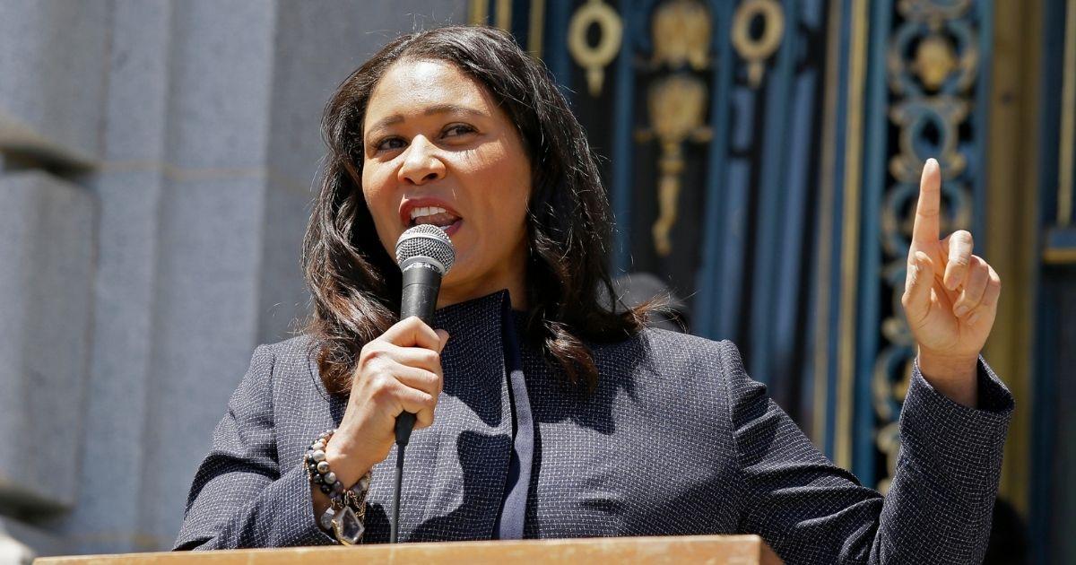 San Francisco Mayor London Breed speaks outside City Hall in San Francisco on June 1, 2020.