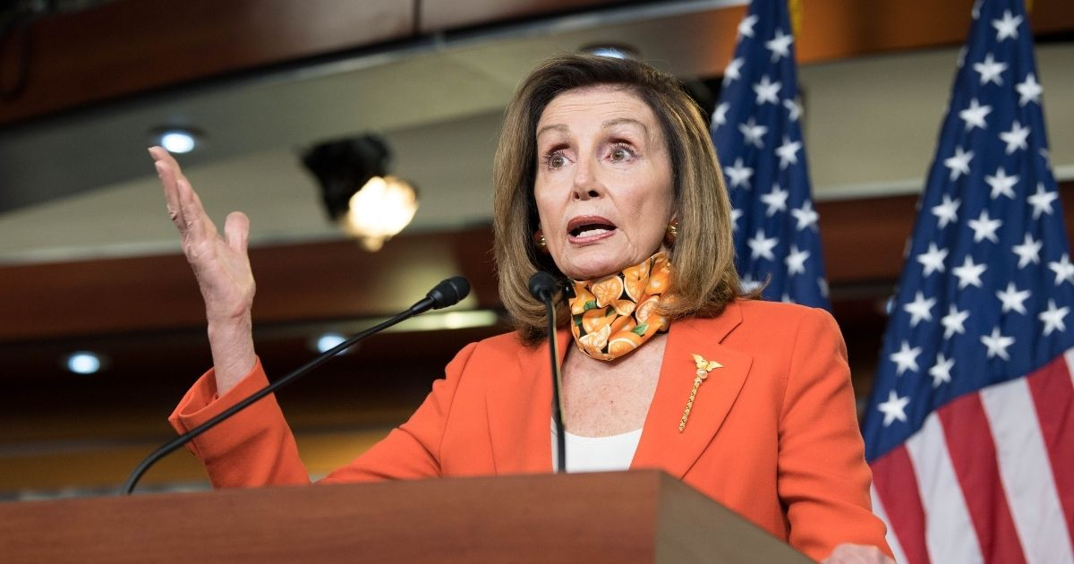 Speaker of the House Nancy Pelosi holds a weekly news conference at the Capitol on Sept. 24, 2020, in Washington, D.C.