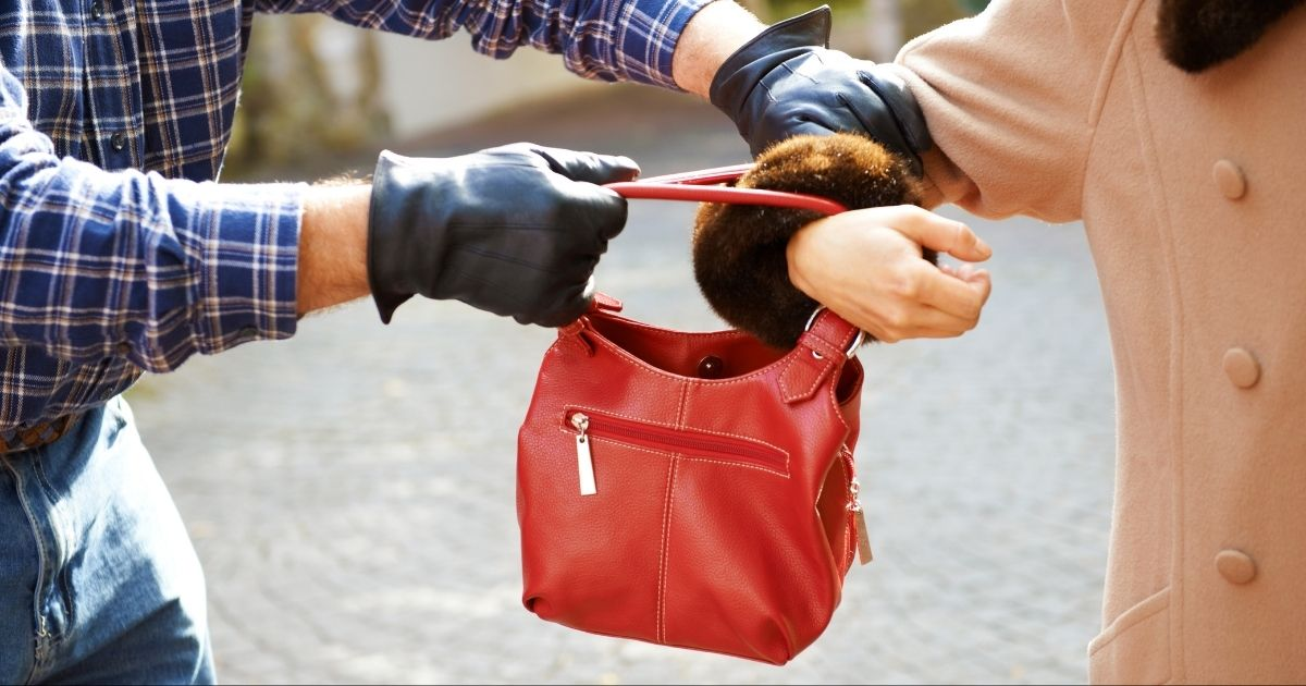 A mugger steals a purse in the above stock photo.