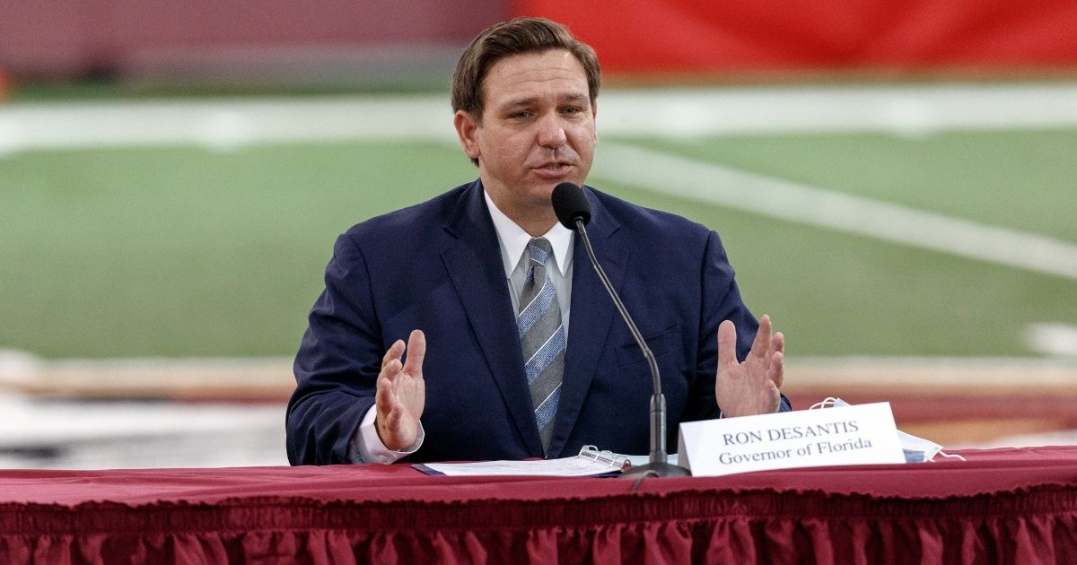 Republican Florida Gov. Ron DeSantis speaks during a collegiate athletics roundtable about fall sports at the Albert J. Dunlap Athletic Training Facility on the campus of Florida State University on Aug. 11, 2020, in Tallahassee, Florida.