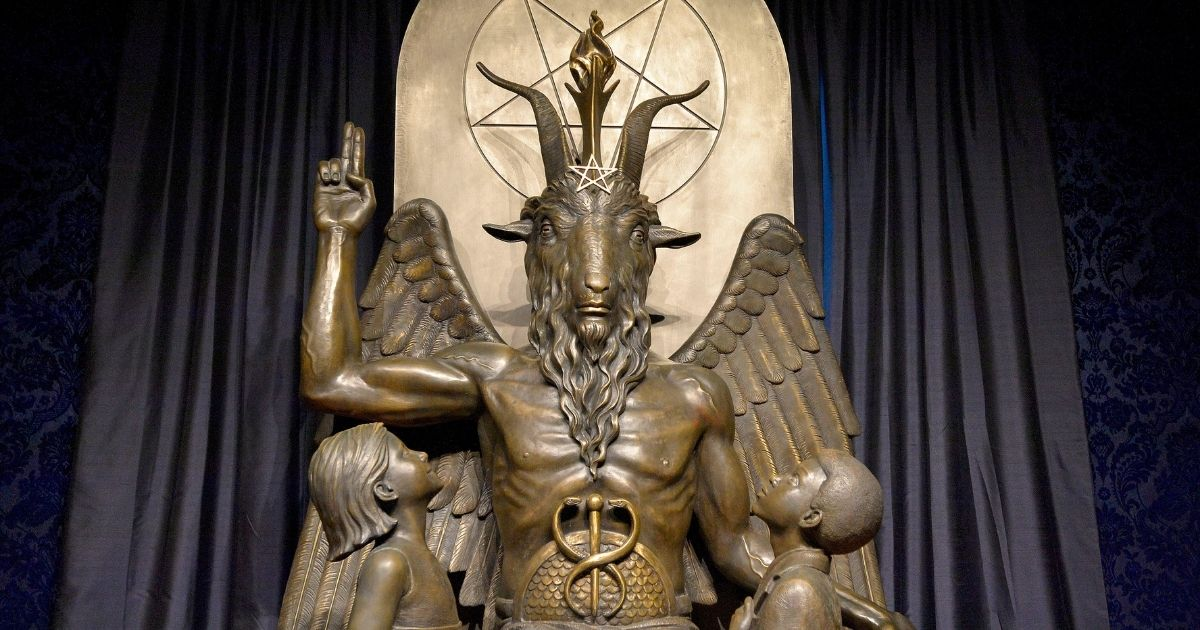 A Baphomet statue is seen in the conversion room at the Satanic Temple in Salem, Massachusetts, on Oct. 8, 2019.