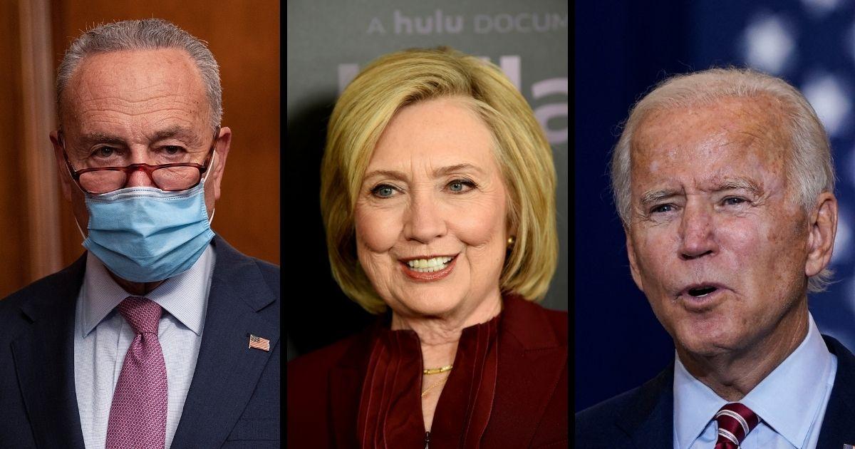Senate Minority Leader Chuck Schumer, former Democratic presidential candidate Hillary Clinton, and former Vice President Joe Biden.