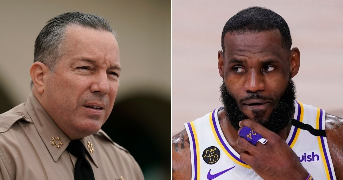 Los Angeles County Sheriff Alex Villanueva, left, issued a challenge to the Los Angeles Lakers' LeBron James, right.