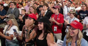 Students cheer as President Donald Trump speaks during a Students for Trump rally at the Dream City Church in Phoenix on June 23, 2020.