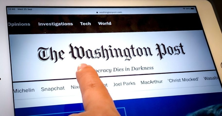 The homepage of The Washington Post's website is pictured above.