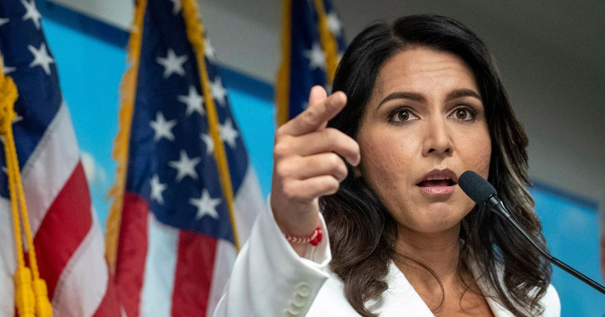 Democratic Hawaii Rep. Tulsi Gabbard speaks during a news conference at the 9/11 Tribute Museum on Oct. 29, 2019, in New York.