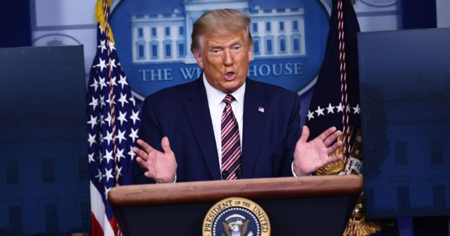 US President Donald Trump speaks during a briefing at the White House September 27, 2020