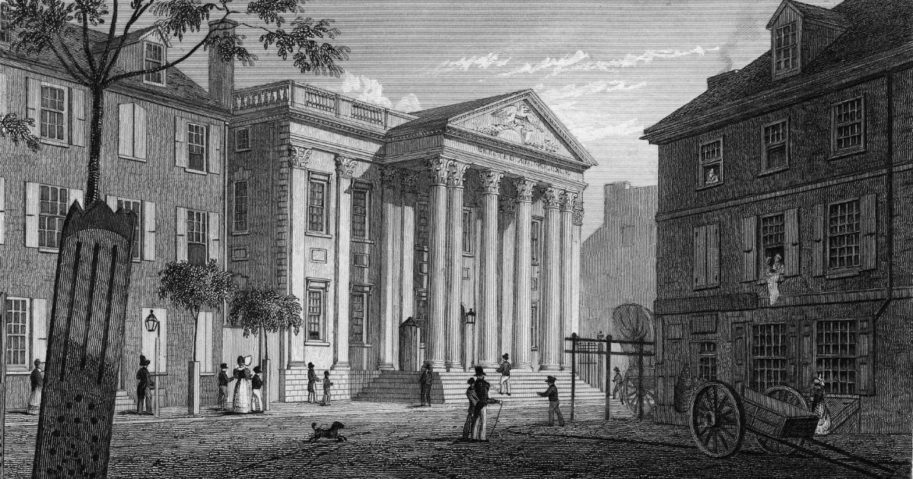 This engraving by Fenner Sears & Co. shows pedestrians on the street outside the First Bank of the United States on Walnut Street in Philadelphia.