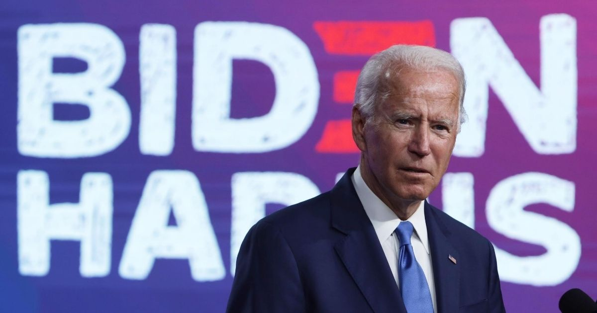Democratic presidential nominee Joe Biden speaks on the coronavirus pandemic during a campaign event on Sept. 2, 2020, in Wilmington, Delaware.