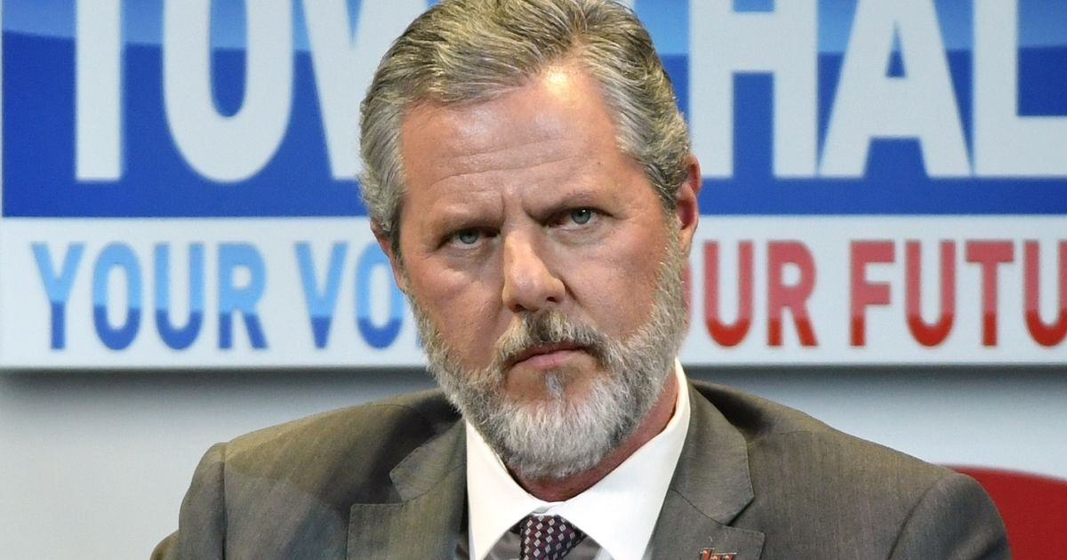 """Jerry Falwell Jr., at the time president of Liberty University, participates in a town hall meeting on the opioid crisis as part of first lady Melania Trump's """"Be Best"""" initiative at the Westgate Las Vegas Resort & Casino on March 5, 2019, in Las Vegas."""