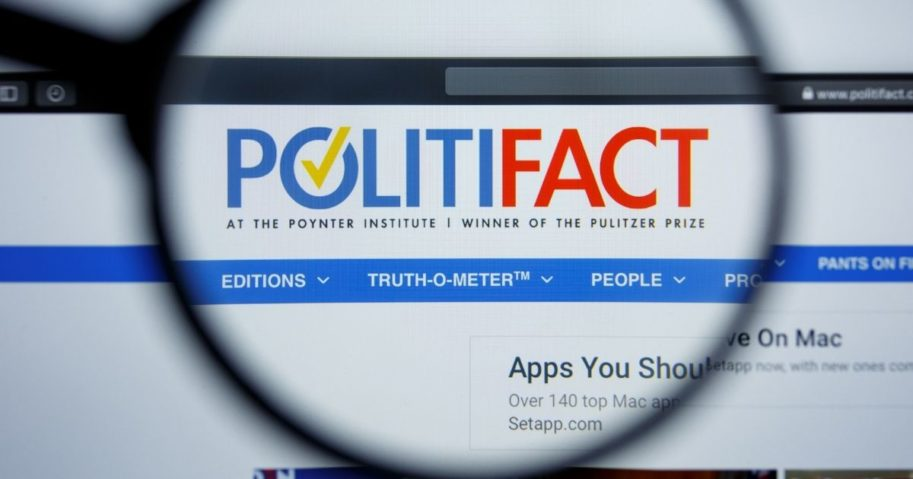 The PolitiFact website's homepage is pictured above.