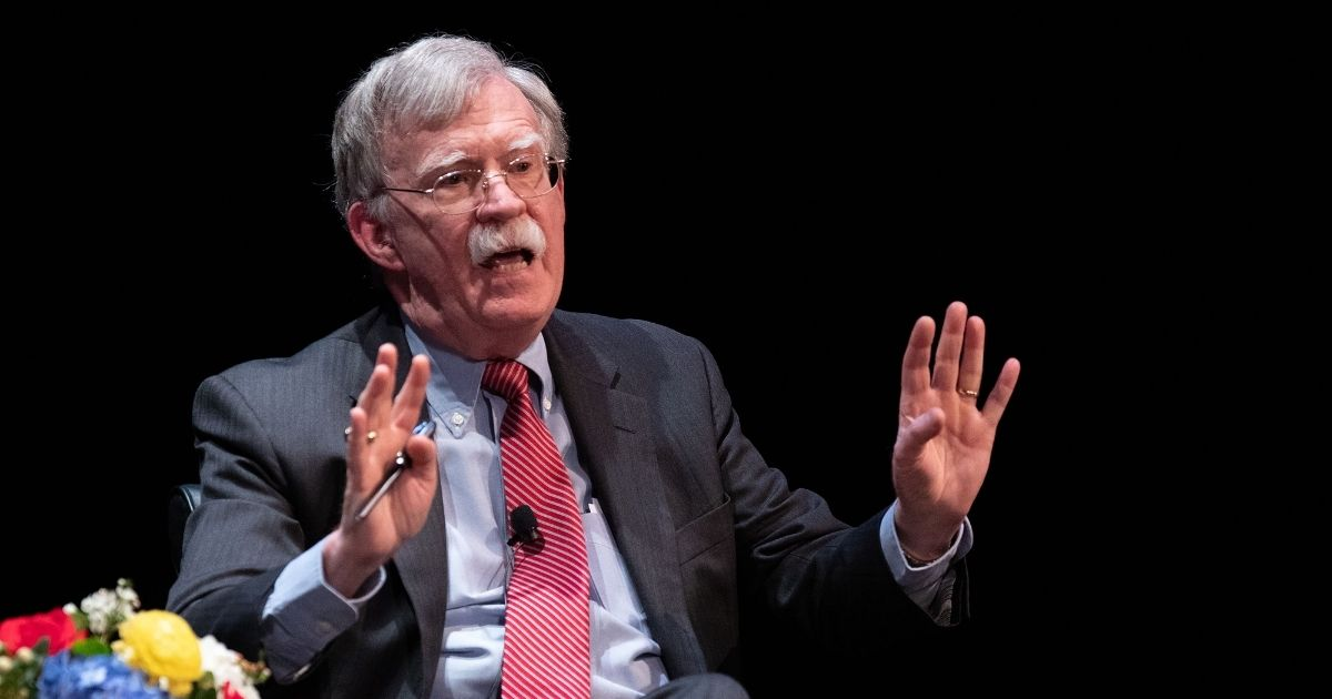 Former national security advisor John Bolton speaks on stage during a public discussion at Duke University in Durham, North Carolina, on Feb. 17, 2020.