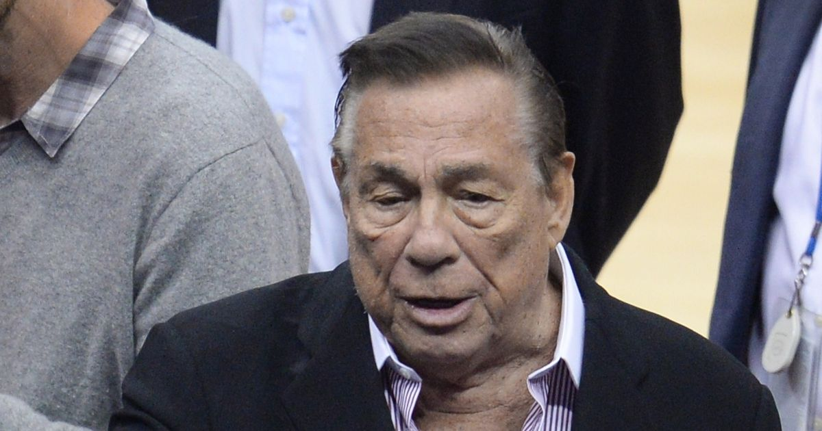 Then-Los Angeles Clippers owner Donald Sterling attends the playoff game between the Clippers and the Golden State Warriors on April 21, 2014, at the Staples Center in Los Angeles.