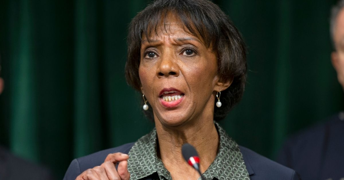 Los Angeles County District Attorney Jackie Lacey talks during a news conference at the Hall of Justice in Los Angeles on Jan. 6, 2020.