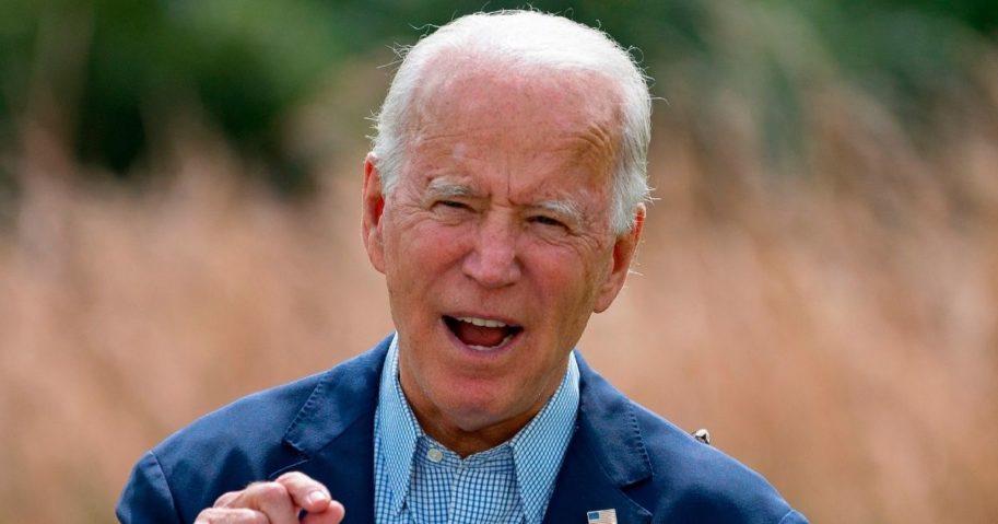 Democratic presidential nominee Joe Biden speaks outside the Delaware Museum of Natural History in Wilmington, Delaware, on Sept. 14, 2020.