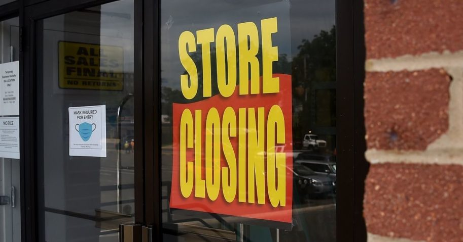 A store displays a sign before closing down permanently as more businesses feel the effects of stay-at-home orders amid the coronavirus pandemic on June 16, 2020, in Arlington, Virginia.